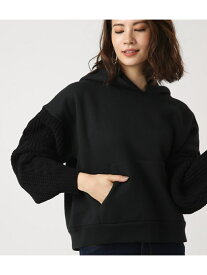 【SALE/50%OFF】AZUL by moussy 《期間限定価格》KnitsleeveHOODIE アズールバイマウジー カットソー パーカー ブラック グレー