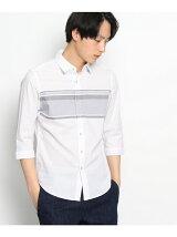パネルボーダー柄七分袖シャツ
