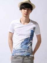 デニムパッチワーク柄プリントTシャツ