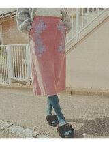 エンブロイダリーコーデュロイスカート