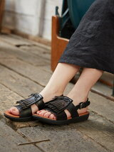 (W)H-BAR BACK-STRAP FRINGE SANDALS - LEA