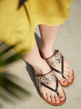 (W)DELTA TOE-THONG SANDALS-LEATHER/SNAKE-PRINT