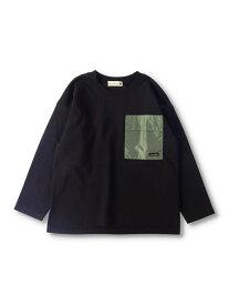 【SALE/52%OFF】branshes 異素材ポケット長袖Tシャツ ブランシェス カットソー Tシャツ ブラック ホワイト ベージュ ネイビー オレンジ ブラウン