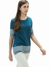 (W)ミックスボーダーTシャツ (半袖)