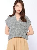 Lugnoncure/鹿の子編み半袖VネックPO