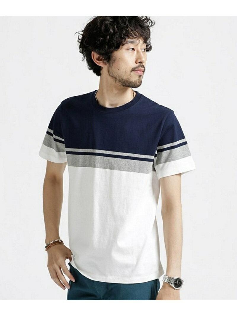 パネル切替Tシャツ ナノユニバース カットソー【送料無料】