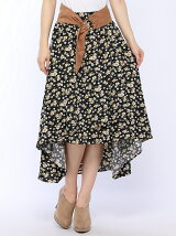ベルト付小花柄スカート