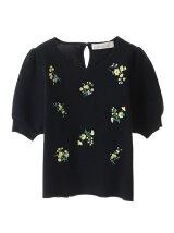 花柄刺繍パフスリーブプルオーバー