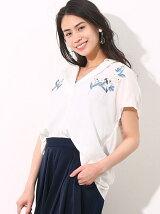 カラー刺繍フレンチ袖バックシャン