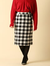 【WEB限定大きいサイズ】ミモレ丈チェック柄スカート