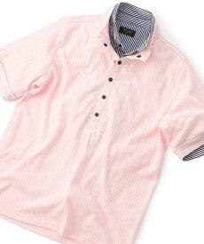 【SALE/50%OFF】MEN'S BIGI フェイクレイヤード シャドーストライプポロシャツ メンズ ビギ カットソー ポロシャツ ピンク ホワイト ネイビー【送料無料】