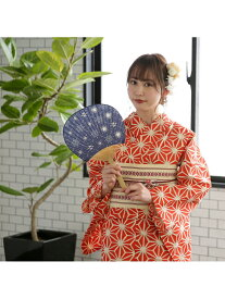 utatane utatane/(W)ゆったりサイズ 浴衣3点セット リネン麻混・オレンジ麻の葉 ウタタネ ビジネス/フォーマル 着物/浴衣 レッド【送料無料】