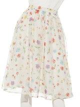 ぼかし花柄シフォンスカート