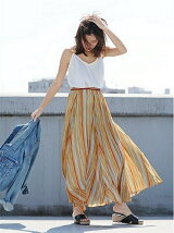 [La]マルチストライプマキシスカート