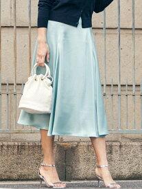 【SALE/79%OFF】Viaggio Blu サテンフレアスカート ビアッジョブルー スカート ロングスカート ブルー ベージュ【送料無料】