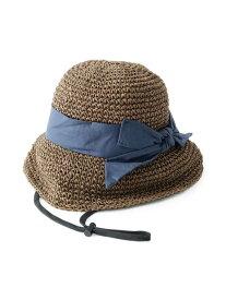 【SALE/65%OFF】SHOO・LA・RUE リボンデザイン麦わらハット シューラルー 帽子/ヘア小物 ハット ブラウン ベージュ