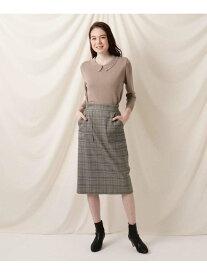 Couture brooch サスペンダー付きチェックミモレタイトスカート クチュールブローチ スカート スカートその他 ブラック ブラウン【送料無料】