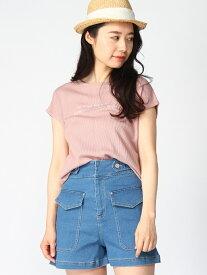 【SALE/35%OFF】WEGO 0/(L)ワッフルロゴノースリーブT ウィゴー カットソー Tシャツ ピンク カーキ ブラウン ホワイト