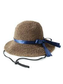 【SALE/60%OFF】SHOO・LA・RUE ナローリボン麦わらハット シューラルー 帽子/ヘア小物 ハット ブラウン ベージュ