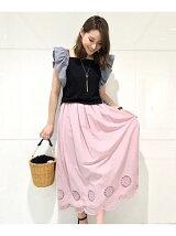 ローン刺繍コットンロングスカート