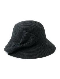 【SALE/51%OFF】SHOO・LA・RUE 編み込みリボン麦わらハット シューラルー 帽子/ヘア小物 ハット ブラック ブラウン ベージュ