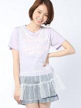 【Tシャツ】(L)ドットチュールタンクレイヤードT