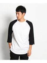 【ロング丈】レイヤード 異素材切替7分袖Tシャツ