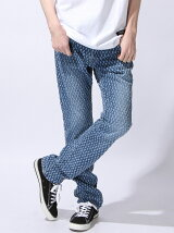 NEEDLE PUNCH DAMAGE SKINNY DENIM PANTS