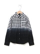 段染め長袖チェックシャツ