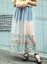 オリエンタル刺繍シアーロングスカート