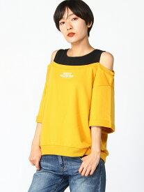 【SALE/38%OFF】WEGO (L)ロールアップオフショルロゴTシャツ ウィゴー カットソー Tシャツ イエロー パープル ブラック ホワイト