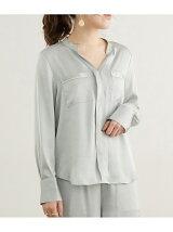 パジャマ風スタンド衿スキッパーシャツ