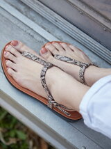 (W)TIA TOE-THONG SANDALS-SNAKE EFFECT LEATHER