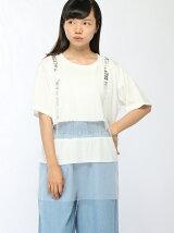 【JUNIOR SWEET】(L)チュールボーダーロゴTシャツ
