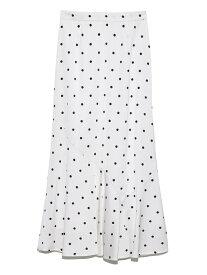 SNIDEL ドットジャガードナロースカート スナイデル スカート ロングスカート ホワイト ブラック【送料無料】