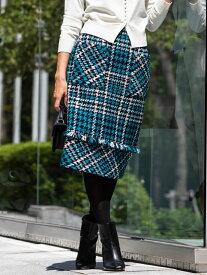 Viaggio Blu 【大きいサイズ】スラブロービングチェックスカート ビアッジョブルー スカート スカートその他 ネイビー ブラウン【送料無料】