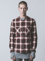 COLLARLESS FLANNEL CHECK SHIRT