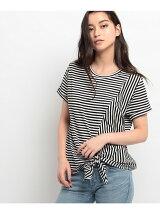 アシンメトリー裾デザインTシャツ