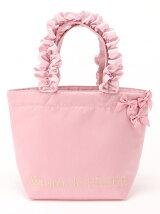 ピンクピンクピンクフリルハンドルトートバッグ