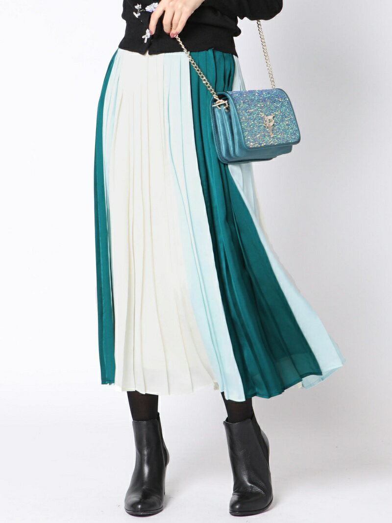 【SALE/30%OFF】QUEENS COURT 配色プリーツスカート クイーンズコート スカート【RBA_S】【RBA_E】【送料無料】