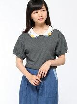 刺繍衿半袖プルオーバー