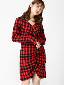 X-girl SHAGGY PLAID SHIRRED DRESS エックスガール ワンピース 長袖ワンピース レッド ホワイト イエロー【送料無料】