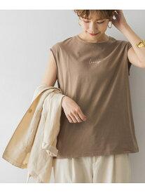 【SALE/40%OFF】URBAN RESEARCH 【WEB限定】ロゴ刺繍フレンチスリーブTシャツ アーバンリサーチ カットソー Tシャツ ブラウン ホワイト ベージュ グレー