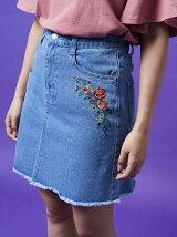 刺繍入りデニムスカート