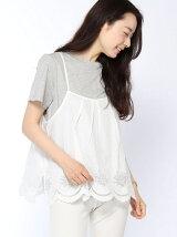スカラップ刺繍キャミ×Tシャツセット