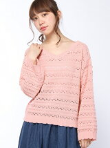 【WEGO】【Dukkah】(L)モールスカシ編セーター