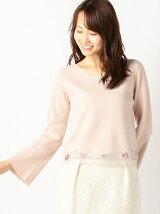 裾チュール刺繍ニット