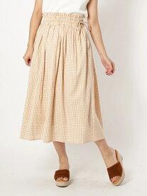 【SALE/24%OFF】a.g.plus 【ParkAve】ギンガムチェックギャザースカート エージープラス スカート スカートその他 ベージュ ブラウン ブラック