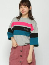 STRIPED KNIT H/S TOP