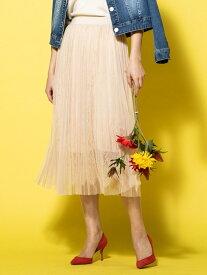 【SALE/70%OFF】VICKY チュール×レースドッキングスカート ビッキー スカート ロングスカート ベージュ ホワイト ブラック